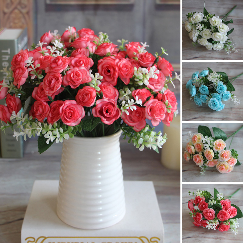 Pretty Charming Delightful 15 Buds 1 Bouquet Mini Rose Artificial Silk Flower Decoration Bridal Decal Home Wedding Decor(China (Mainland))
