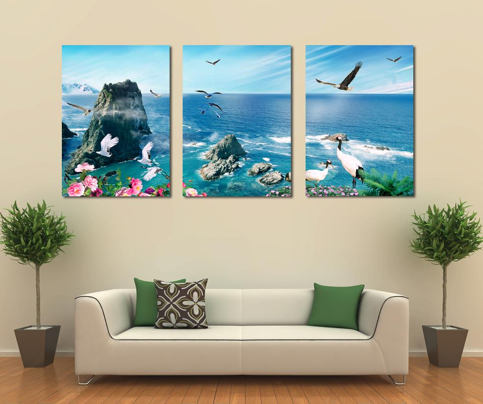 free shipping 3 panel canvas art home decoration wall art beach