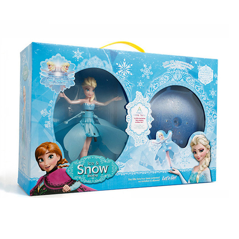 The newupgrade Flying Fairy Elsa Infrared Induction Control Fashion Flying Boneca With Light Music Electronic Toys girls toys