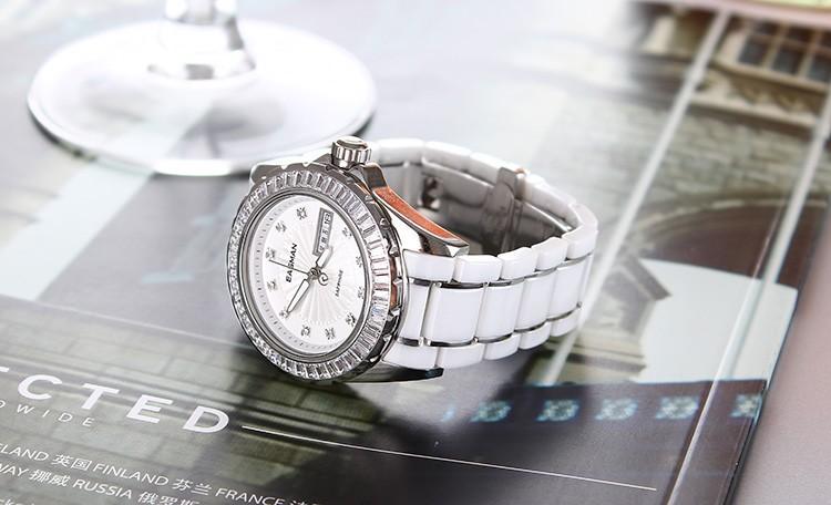 Easman модной белый керамические женские часы циркон камни дата день наручные часы женские кварцевые часы