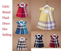 Brand baby girls dressSummer Girl's Fashion Apparel 2~6Age Kids dress party princess girls' dresses plaid Cotton