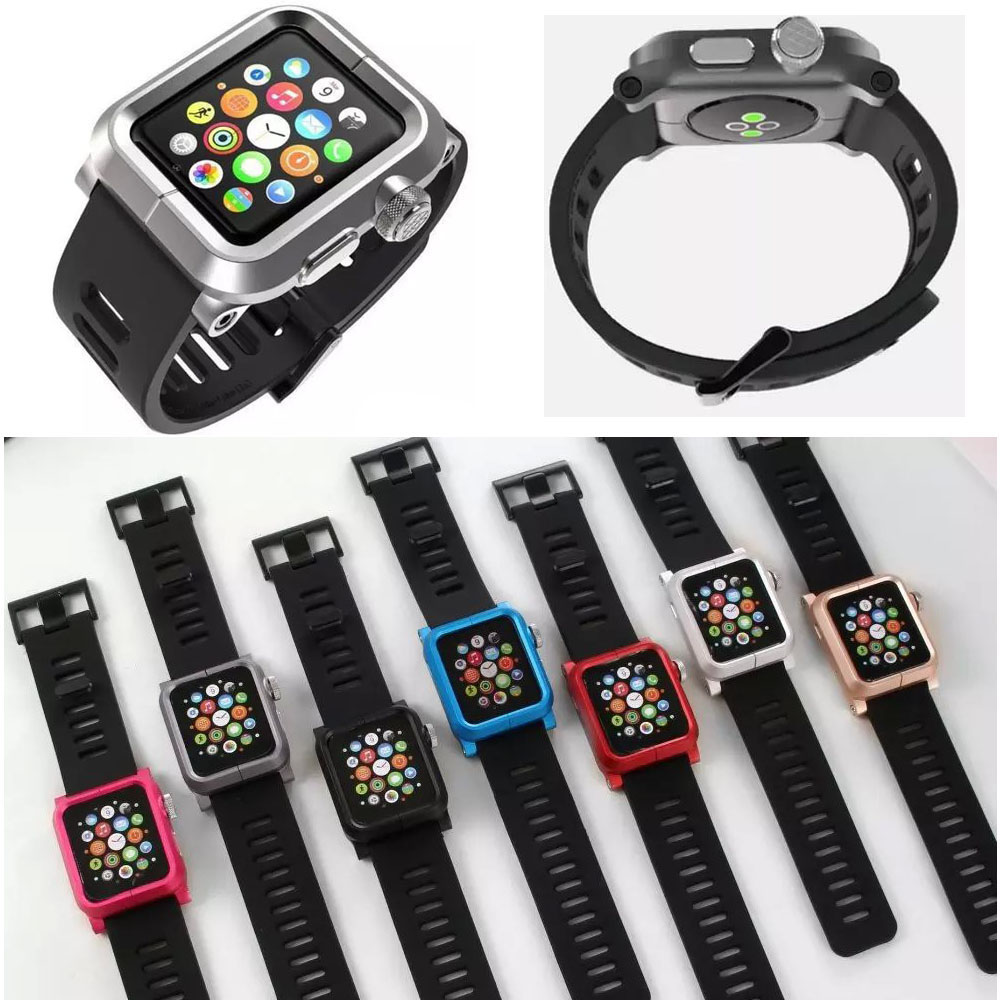 Aluminum Metal Protective Case Cover Sports Rugged Silicone Strap Watch Bands for Apple Watch Sport Edition 38mm/42mm Watchband(China (Mainland))
