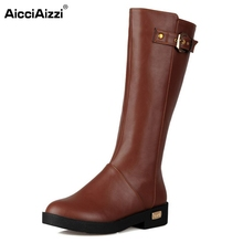 Buy Women Flat Knee Boot Winter Snow Warm Long Boots Ladies Botas Knight Buckle Fashion Footwear Shoes Size 34-39 for $25.84 in AliExpress store