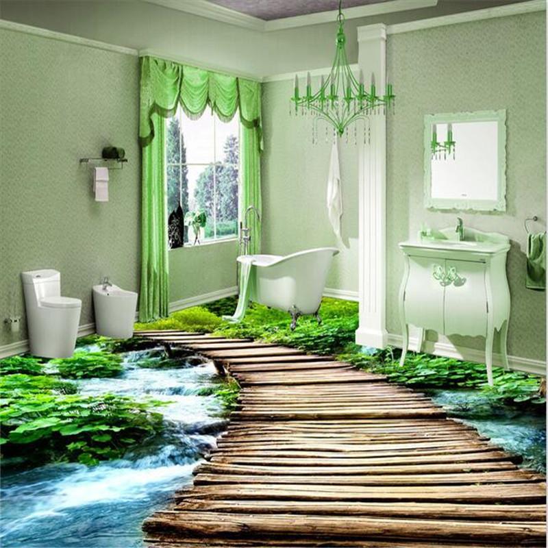 Modern Toilets Custom 3D floor mural wear non-slip waterproof thickened self-adhesive PVC photo Wall paper(China (Mainland))