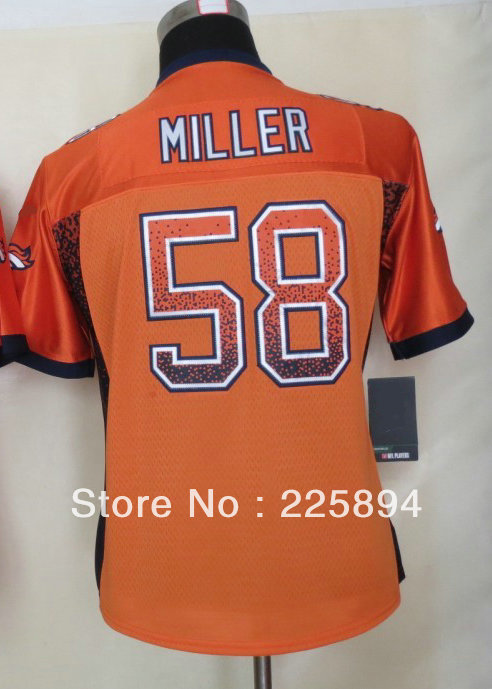Free shipment Women's American Football Jersey #58 Von Miller Orange Drift Fashion Elite Jersey all stitched Embroidery logos(China (Mainland))