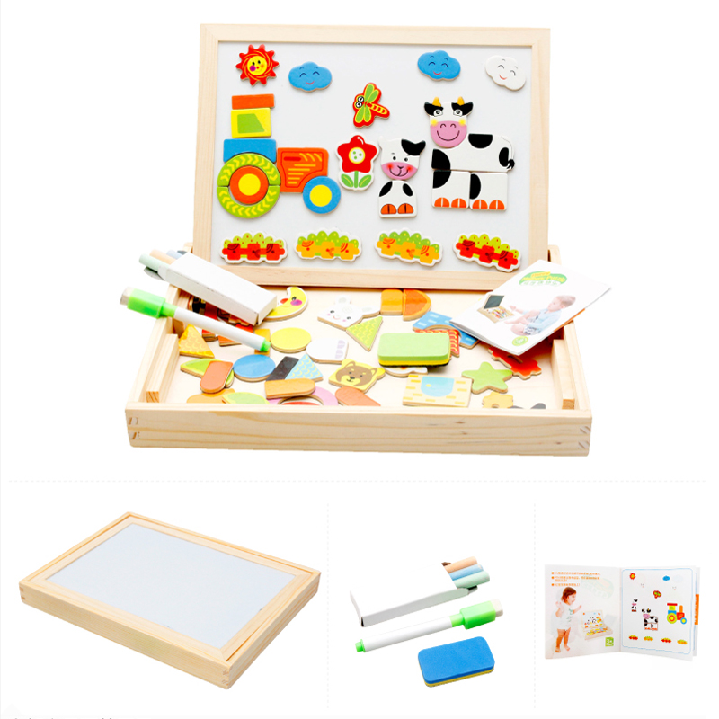 6 style Multifunctional Educational Farm Animal Wooden Magnetic Puzzle Toys for Child Kids Jigsaw Baby Drawing Easel Board LYJ14(China (Mainland))