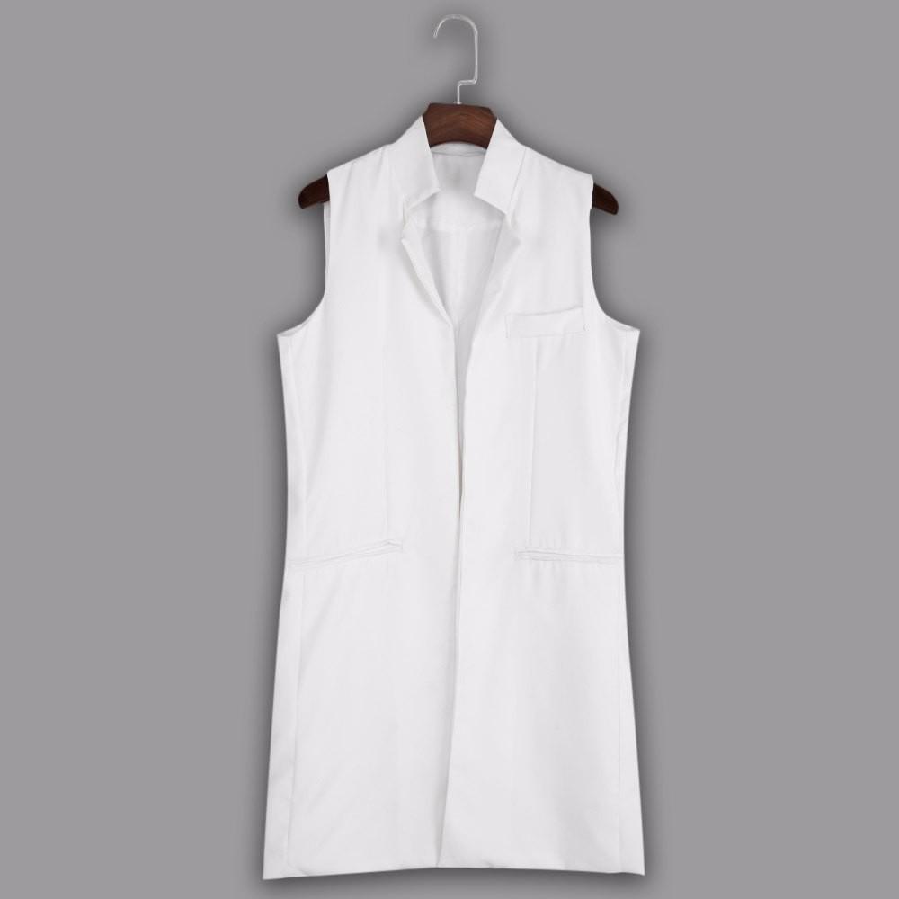 VESTLINDA Long Vest Back Split Outwear Waistcoats Women White Black Jacket Coat Sleeveless Cardigan Pocket Blazer Vest Femme Top 12