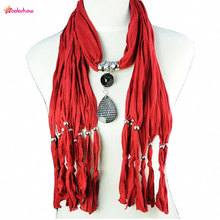 AOLOSHOW Women Pendant Necklace Scarf Jewelry Handmade Scarves Long Design Drop Pendants Charm Female Jewelry Shawl NL-1222(China (Mainland))