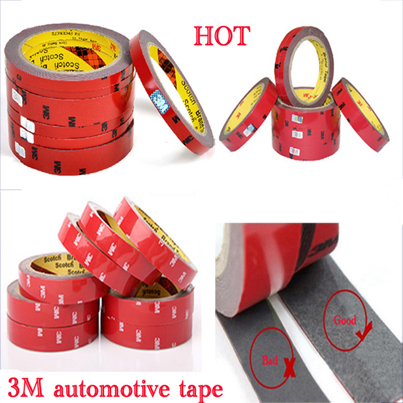 2016 Top Sale Certified 3M Double-sided car motorcycle Tape size 0.6/0.8/1/1.5/2/3cm Chose Long 3 Meter good quality stickiness(China (Mainland))