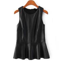 2015 Free Shipping Large Plus Size Women's Ruffles PU Leather with Zipper Sleeveless Black Crop Top Tee T-shirt Vest(China (Mainland))