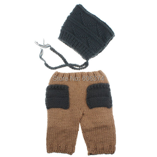 New Newborn Baby Photography Props Cartoon Design Hat Set Handmade Crochet Knitted Beanie Cap Trousers Costume Outfit(China (Mainland))