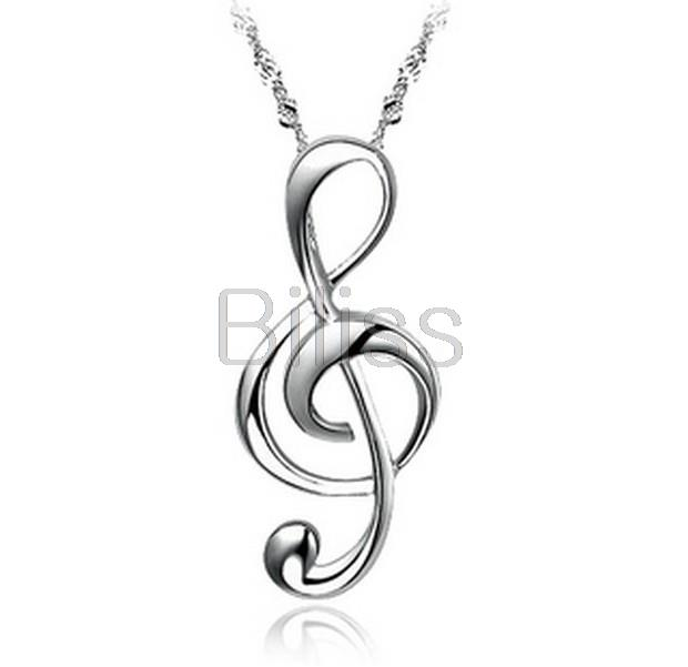 2015 Silver Stainless Steel G Treble Clef Necklace Music Note Pendant Necklace For Women Girl Gift collares mujer(China (Mainland))
