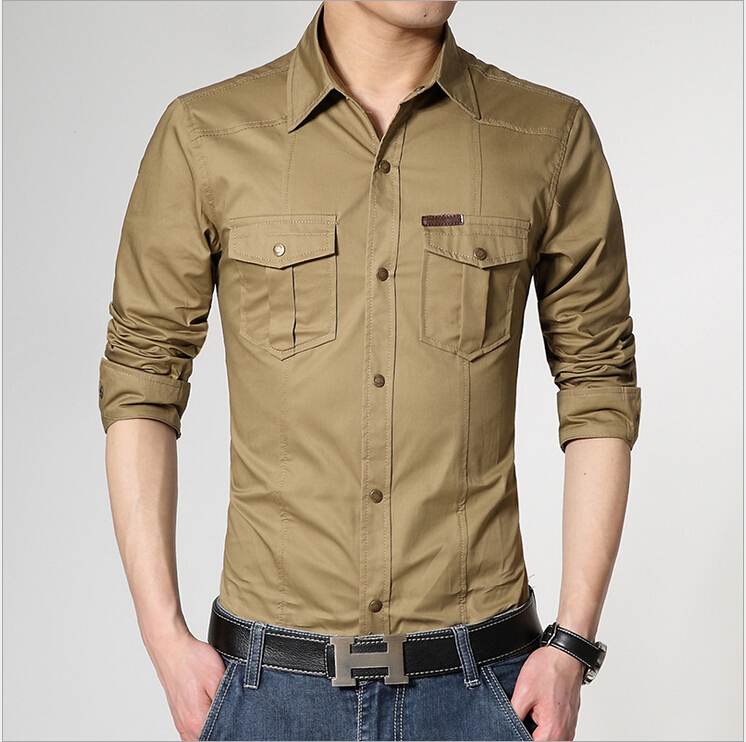 Big size camisa masculina casual military style mens for Mens dress shirt sleeve length