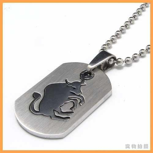 Men S Stainless Steel Pisces Zodiac Dog Tag Pendant: Fashion Jewelry The Signs Of The Zodiac Taurus Bull