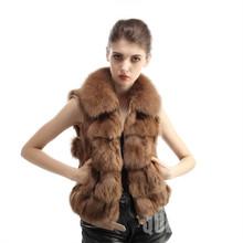 2015 New Real Fox Fur Vest With Nature Fox Fur  Waistcoat Fashion Women Fox Fur Gilet(China (Mainland))