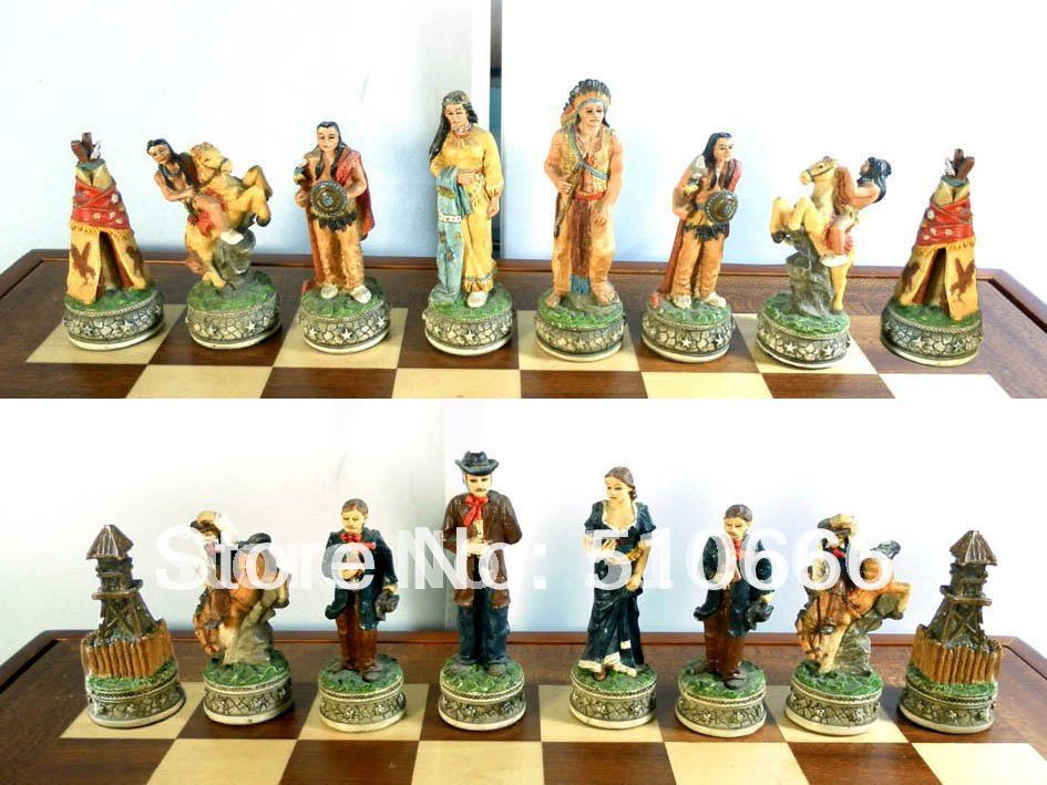 Cowboy theme chess inimitable design.made resin,best gift friend/chess pieces - SWEET HOME ACCESSORIES MANUFACTORY store