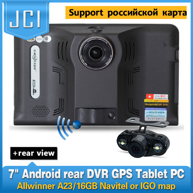 New 7 inch Car GPS Navigation Android rear view Anti Radar Detector Car DVR 1080P Truck vehicle gps AV-IN Tablet PC 16GB Navitel(China (Mainland))