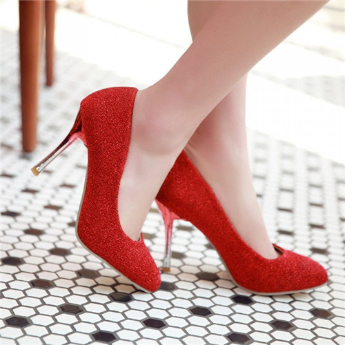 US4.5-10 Womens Thin High Heel Pumps Pointed Toe Court Wedding Party Shoes 5 Colors Plus Size