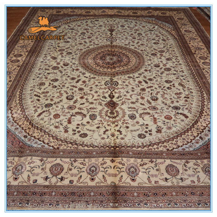 Free shipping 274x366 cm beige hand knotted living room for 9 x 12 living room rugs