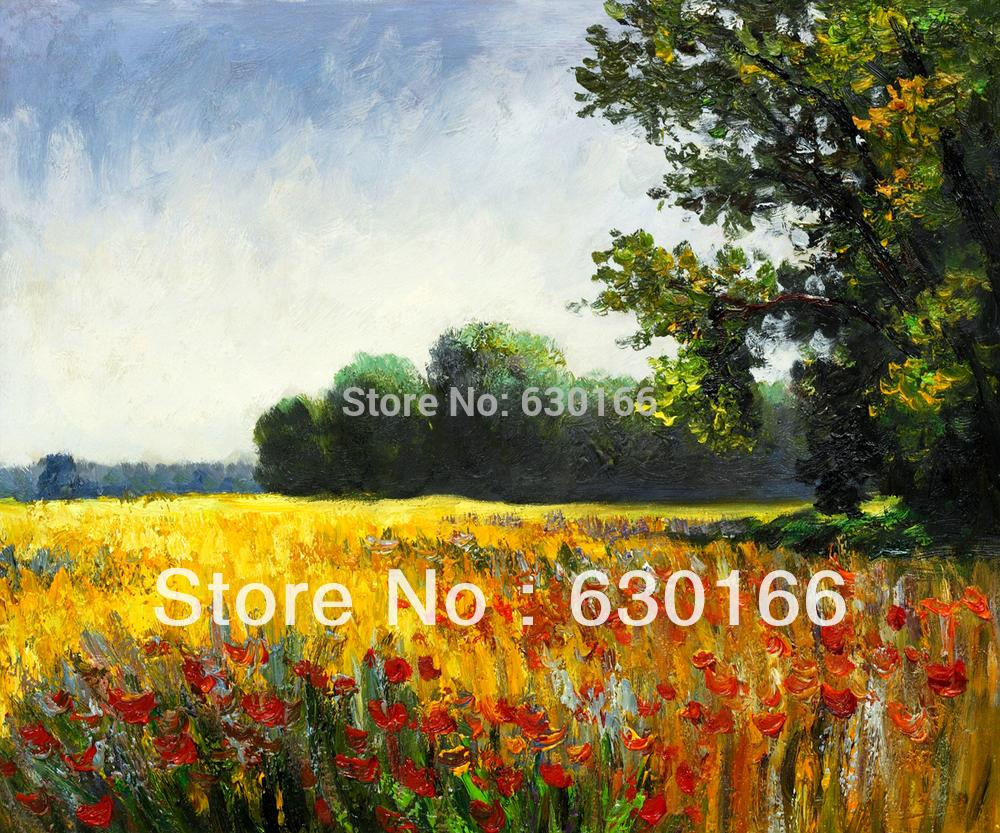 100% Hand Painted Canvas Oil Paintings Reproduction Oat Fields , Champ d'avoine Claude Monet's Painting for Home Decoration(China (Mainland))