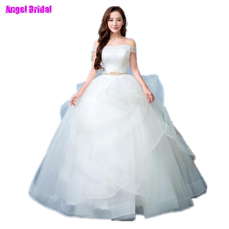 Vestido De Noiva Boat Neck Simple Elegent Princess Belt Wedding Dresses Tulle Bridal Ball Gowns Bride Dresses