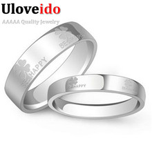 Couple Wedding Pair Rings with Letter & Flower for Lover White Gold Plated Sets Dubai Jewelry Stainless Steel Ring Uloveido J052(China (Mainland))