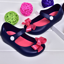2016 New Mini Melissa Shoes Sandals Princess Shoes Butterfly Knot Soft Bottom Fish Head Girls Sandals Baby Shoes 4 Color Mini