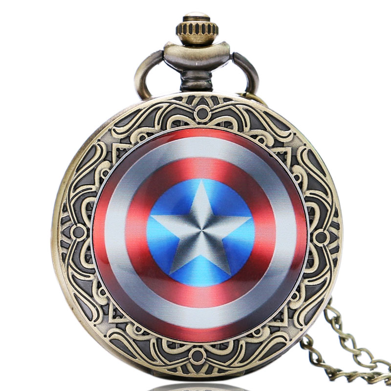 Captain America Movie Extension Shield Weapon The First Avenger Steve Rogers Design Pendant Pocket Watch(China (Mainland))