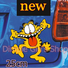 1pcs 25cm New 2014 Cool Kawaii Garfield Cat Funny Car Stickers And Decals On Auto Automobiles & Motorcycles Exterior Accessories