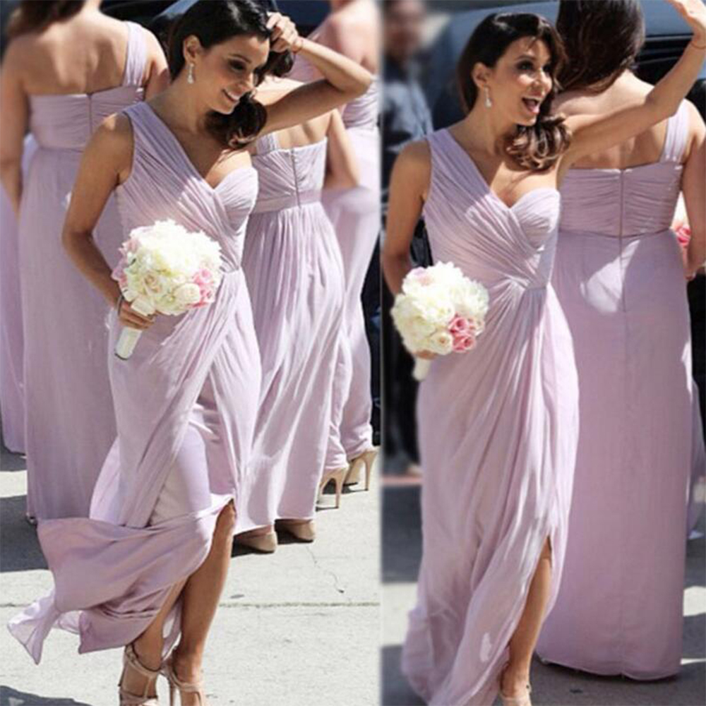 Popular bridesmaids dresses lilac buy cheap bridesmaids dresses cheap one shoulder light purplelilac bridesmaid dresses long pleat tulle bridesmaid dress slit wedding ombrellifo Choice Image