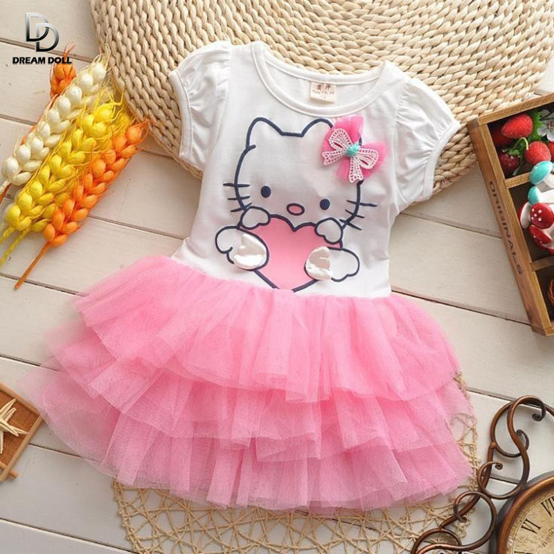 2015 summer style girls dress Hello kitty cartoon KT wings tutu dress bow veil Kids love children's clothing free shipping(China (Mainland))