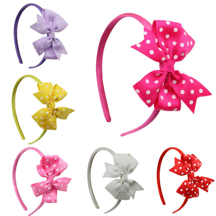 1 piece Hot Sale new dot ribbon bow baby girl hairband kids bow hairband children hair wear butterfly hair accessories(China (Mainland))