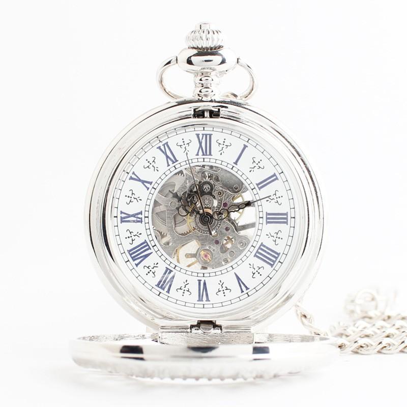 Карманные часы полые обратно через механические часы полые резные ретро моды раскладушка высококлассные ретро цветок винограда