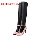 ENMAYDA New Fashion High Heels Women Boots High Quality Knee High Boots Black Shoes Boots for