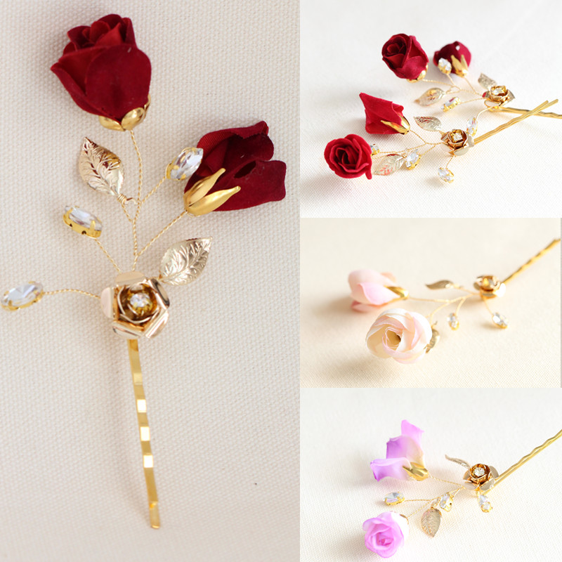 handmade red purple pink gold flower hairpins wedding accessories bridal party jewelry beach hair pin clip 3pcs lot 652(China (Mainland))