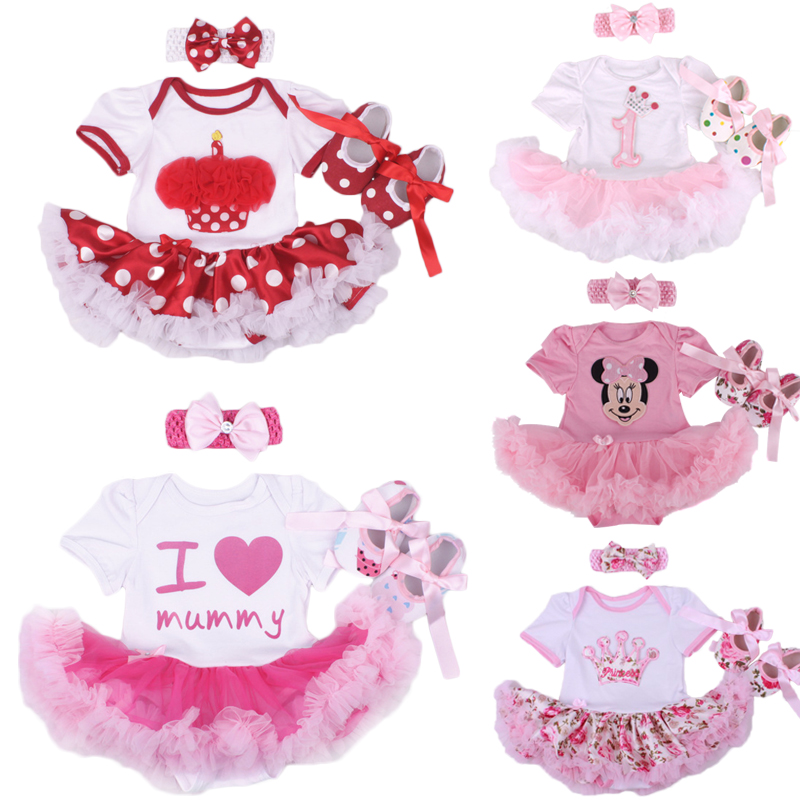 Baby Girl Infant 3pcs Clothing Sets Suit Princess Tutu Romper Dress/Jumpersuit Bebe Party Birthday Costumes Vestidos