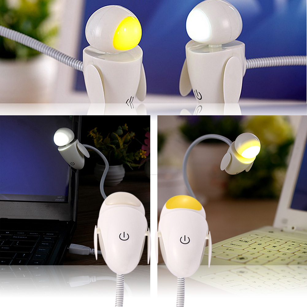 0.3 W Creative Design Bendable USB Charging Robot LED Eye Care Reading Light lamp Bedroom Desk Night Light(China (Mainland))