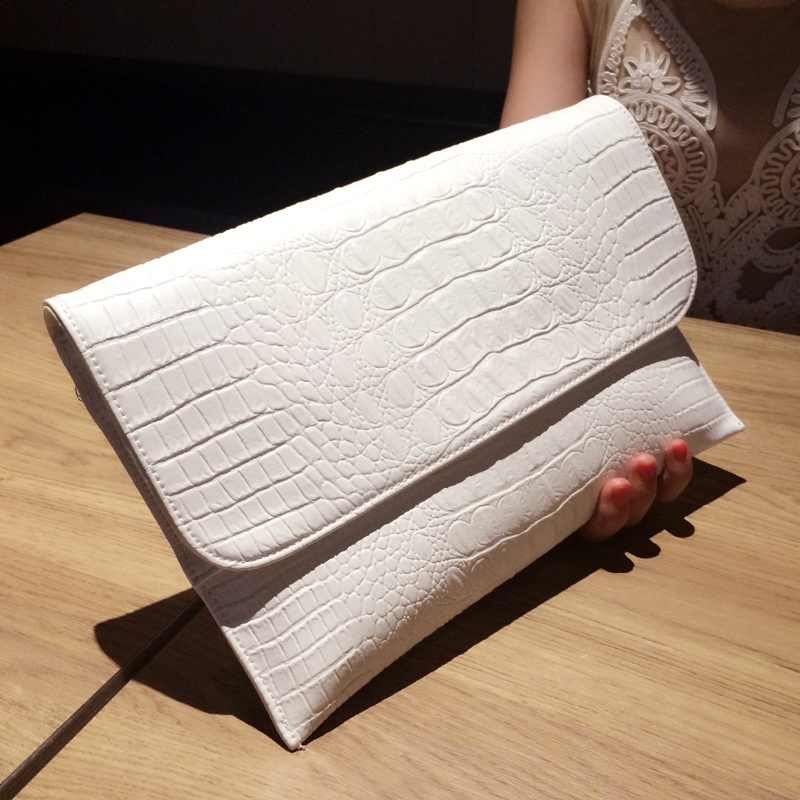 Big envelope clutch bag Alligator grain pattern Genuine Leather Women clutches bags purses and handbags designer(China (Mainland))