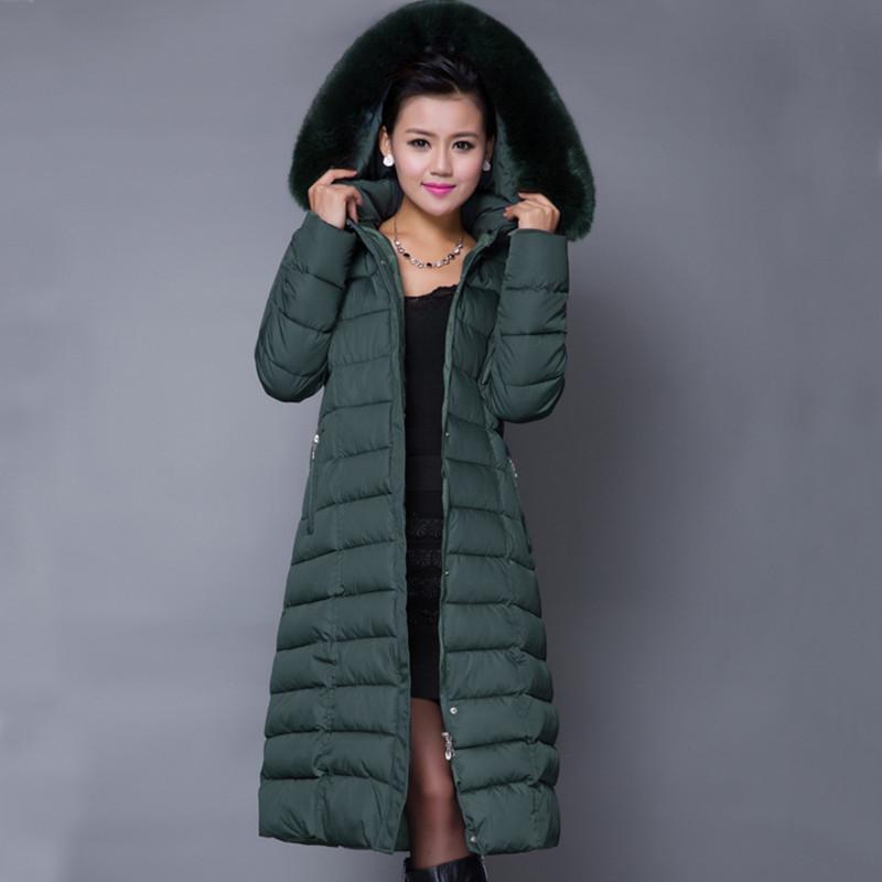 Winter Jacket Women 2015 Coat Plus Size 5XL Long Parka Luxury Fur Cotton-Padded Coats Wadded Jackets