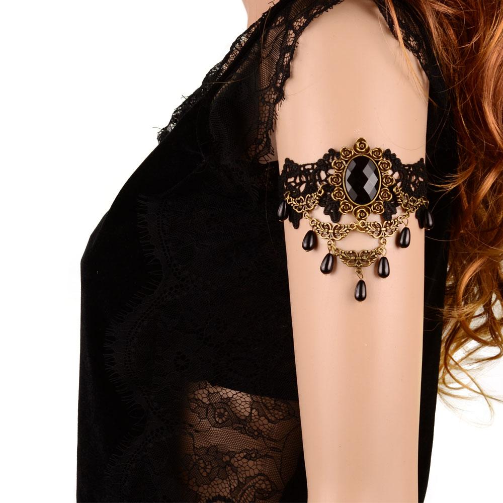 2016 Women Handmade Black Resin Pendant Lace Arm Bracelet Gothic & Vintage Fashion Jewelry(China (Mainland))