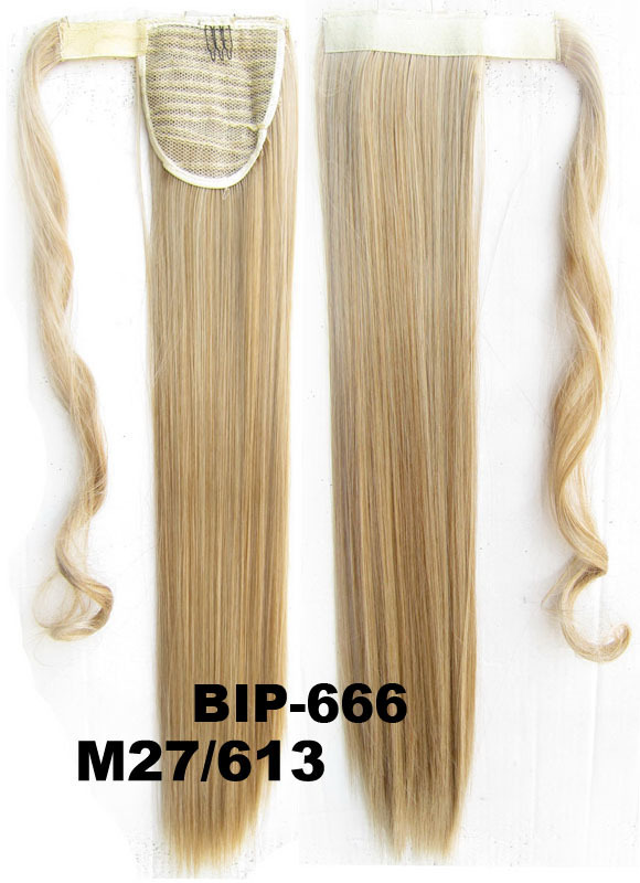 Long Straight Synthetic Wrap Around Invisable Ponytail Extensions Clip Hair Pony Tail Color M27/613#, 22inches 90g,22 inch,1pc - Micmart Extension&Wig store