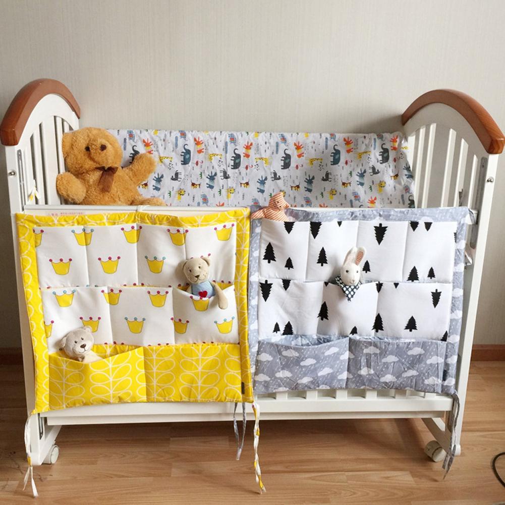 Baby Bed Hanging Storage Bag Cotton Newborn Crib Organizer Toy Diaper Pocket for Crib Bedding Set Accessories(China (Mainland))
