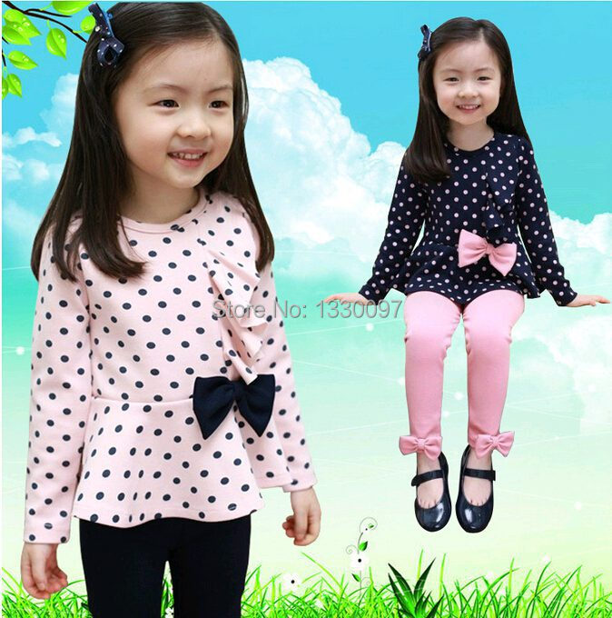 Free shipping spring autumn chidren clothing sets kids wear outfits Polka Dot bowknot long-sleeve suit Coat + pants LY-85(China (Mainland))