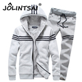 New 2016 Brand 2PCS Winter Thick Velvet Soft Warm Sweatshirt Men Set Striped Casual Hoodies Tracksuit