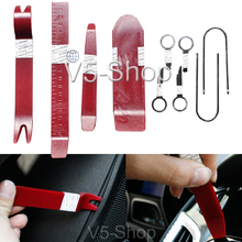 New 10in1 Professional Car Door Plastic Trim Panel Molding Dash Audio Stereo GPS Removal Install Tools Kit Red(China (Mainland))