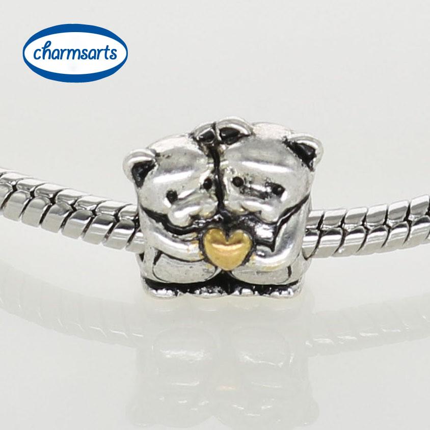 Silver Charms Original Design Beads European DIY Teddy Bear Frog Animal Charm Angle Heart Beads Mixed Castle(China (Mainland))