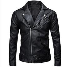 Brand New Mens Slim Leather Jacket Male Large Size Casual Motorcycle Jacket Black/White Spring And Autumn Coats Jackets J1108