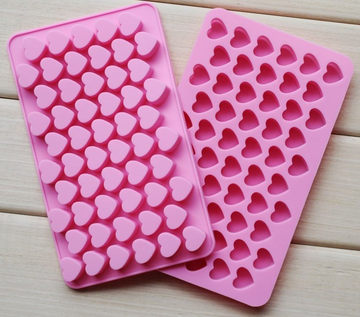 Silicone mold 55 heart-shaped mould to make candy mold chocolate brown sugar and ice mold(China (Mainland))