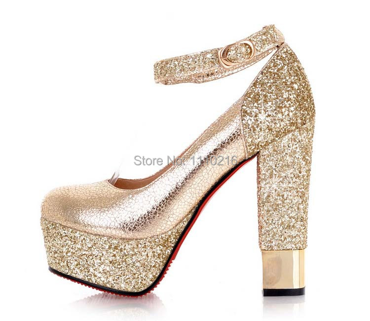 2016 new fashion Sequins strappy thick high heels platform wedding pumps sexy ankle atrap party women's bridal shoes round toe