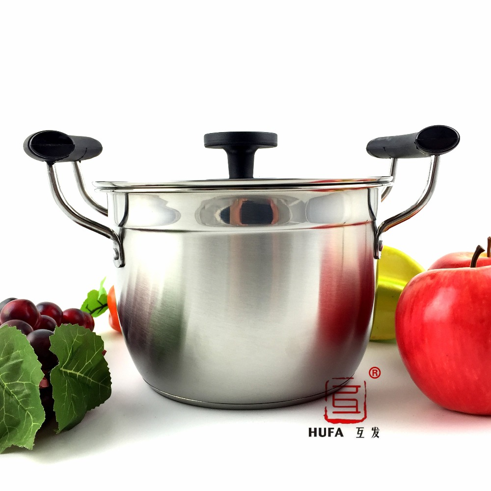 2016 Hot Sale HUFA 18cm double bottom stainless steel soup pot/non-magnetic multi-function stainless steel casserole/stock pot(China (Mainland))